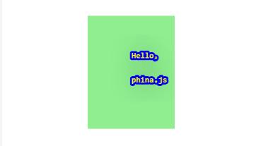 Hello,world! phina.js プログラミング 黄色文字 青囲み文字 緑背景