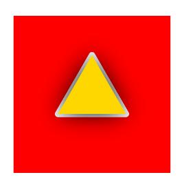 三角 黄色 黒グラデーション 赤背景 白輪郭