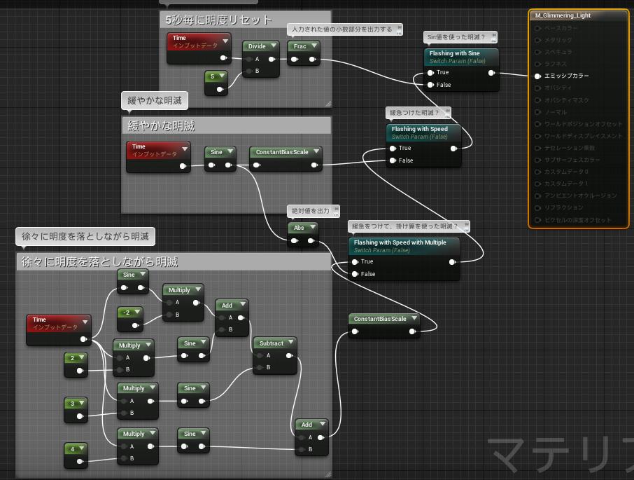 UnrealEngine4 ライトファンクション  点滅するライト マテリアルエディタ スクリーンショット