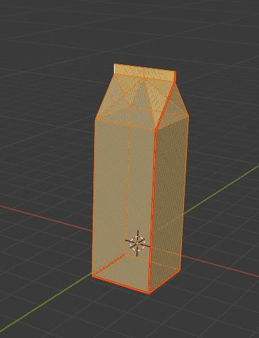 Blender モデリング 牛乳パック 頂点全選択