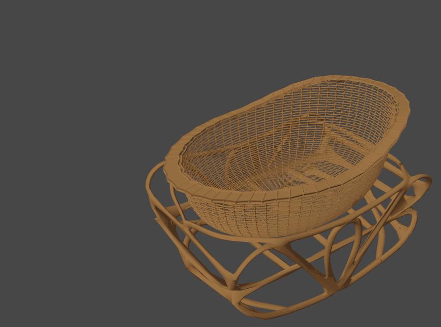 Blender ワイヤーフレーム モディファイアー 3DCG モデリング 揺り籠