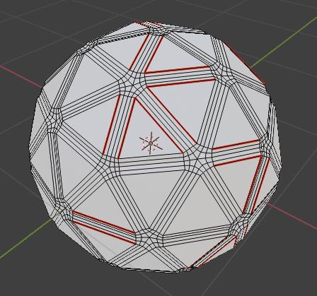 Blender ベベル モディファイアー 3DCG モデリング ico球 シーム