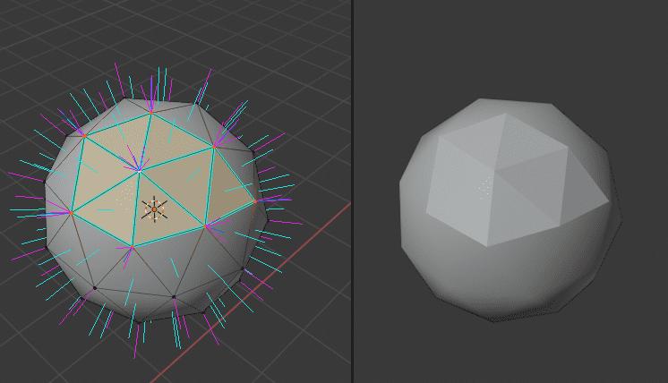 Blender カスタム法線 カスタム分割法線 分割カスタム法線 法線編集 normals 3DCG モデリング ico球