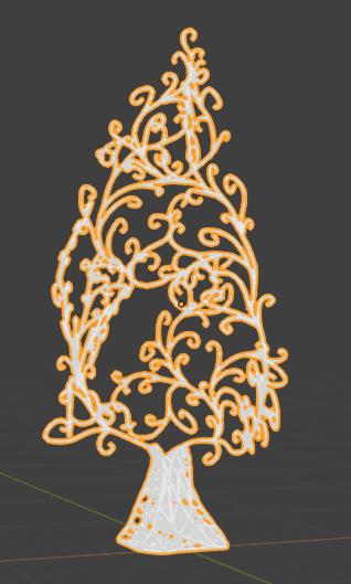 Blender 木 樹 唐草模様 3DCG モデリング