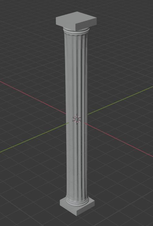 Blender 細分化 ソリッド化 モディファイアー 頂点グループ 3DCG モデリング 柱