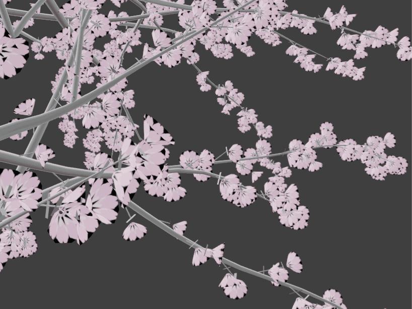 Blender アドオン カーブ Add-on Sapling_Tree_Gen 3DCG モデリング 桜 花