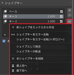 Blender シェイプキー パネル 3DCG モデリング プロパティエディタ
