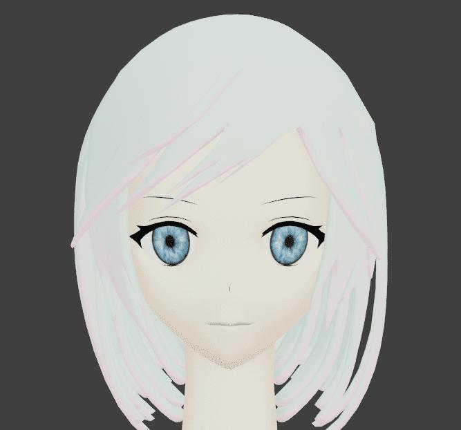 Blender UVワープ  ミラー モディファイアー 人間 キャラクター 女の子 碧眼 白髪 モデリング 3DCG