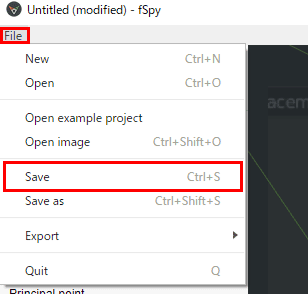 fSpy fileメニュー save