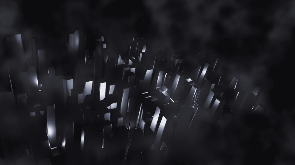 Blender ディスプレイス モディファイアー ボリューム マテリアル 3DCG モデリング ミスト 霧 ビル ビル街