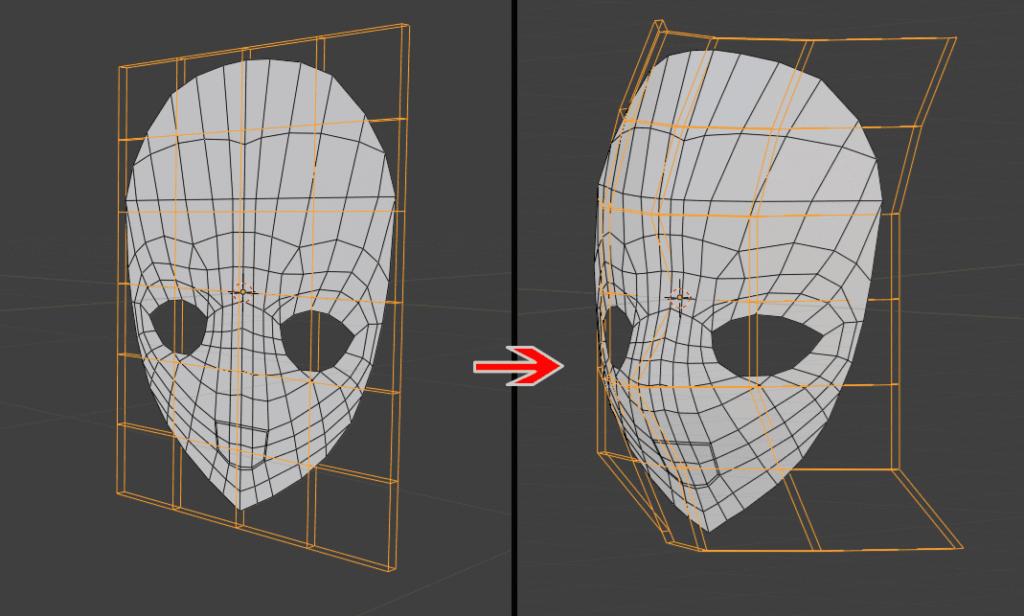Blender ラティス モディファイアー 立方体 3DCG モデリング ペアレント 平面 変形 顔