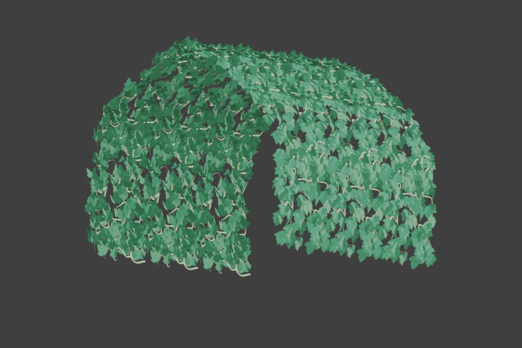 Blender メッシュ変形 モディファイアー カーブ ツタ ivy 3DCG モデリング パーティクル ヘアー 配列 平面 コリジョン シミュレーション