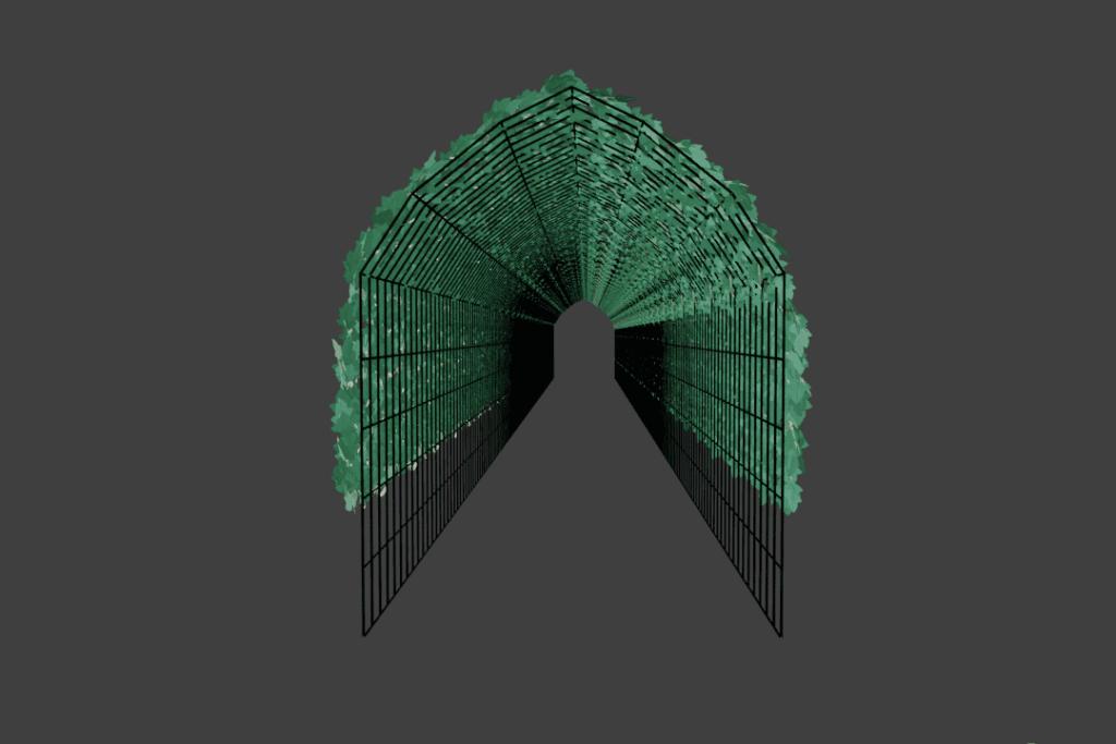 Blender メッシュ変形 モディファイアー カーブ ツタ ivy 3DCG モデリング パーティクル ヘアー 配列 平面 コリジョン シミュレーション トンネル アーチ ワイヤーフレーム