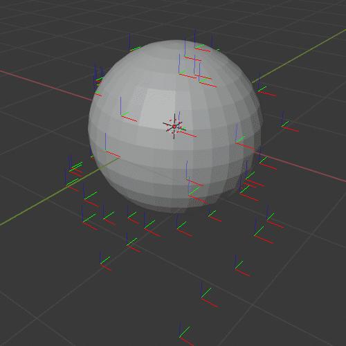 Blender パーティクルシステム オブジェクト エミッター 3DCG UV球