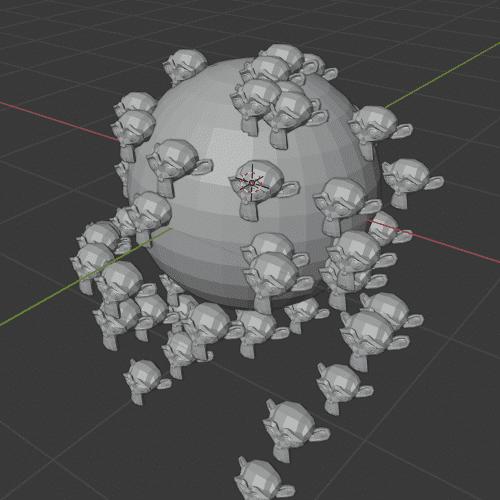 Blender パーティクルシステム オブジェクト エミッター 3DCG UV球 モンキー