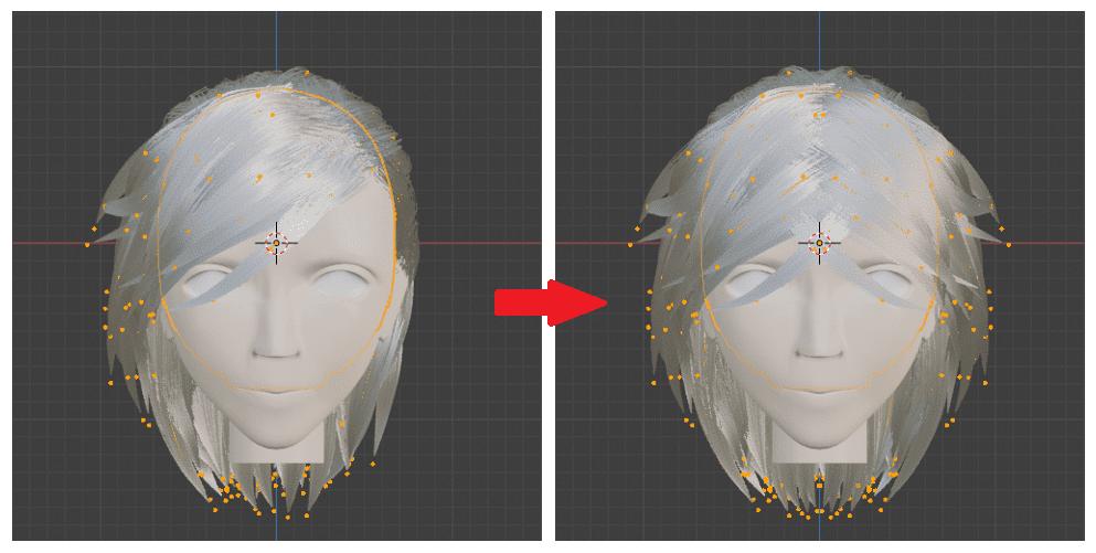 Blender パーティクルシステム ヘアー ブラシ 3DCG パーティクル編集モード
