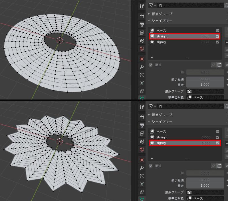 Blender シェイプキー 3DCG モデリング スカート