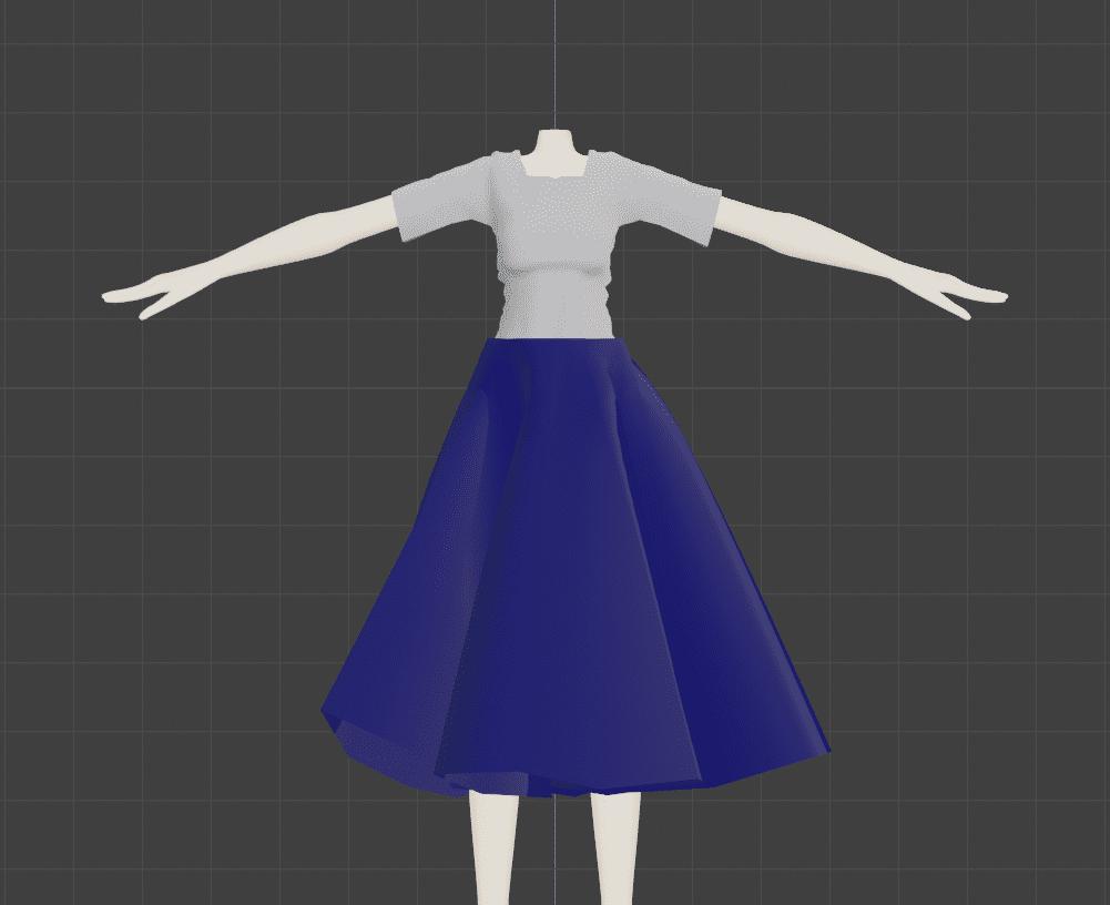 Blender クロス シミュレーション 3DCG モデリング マネキン 衣服 スカート