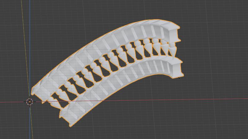 Blender 配列 カーブ モディファイアー 3DCG モデリング 柱 カーブ