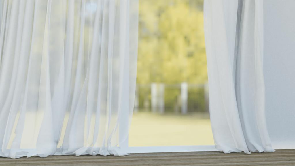 Blender フック モディファイアー 3DCG モデリング カーテン 窓