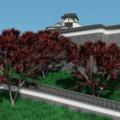 Blender カーブ モディファイアー 城 城壁 秋 山 青空 3DCG モデリング