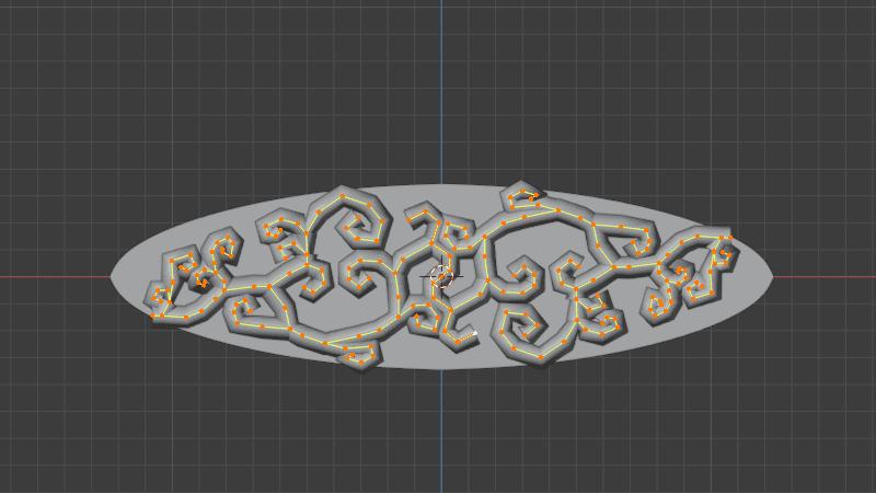 Blender シュリンクラップ モディファイアー 3DCG モデリング リング 唐草模様