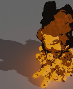 [Blender 2.9] 炎や煙をメッシュオブジェクト化 [ボリュームのメッシュ化モディファイアー]