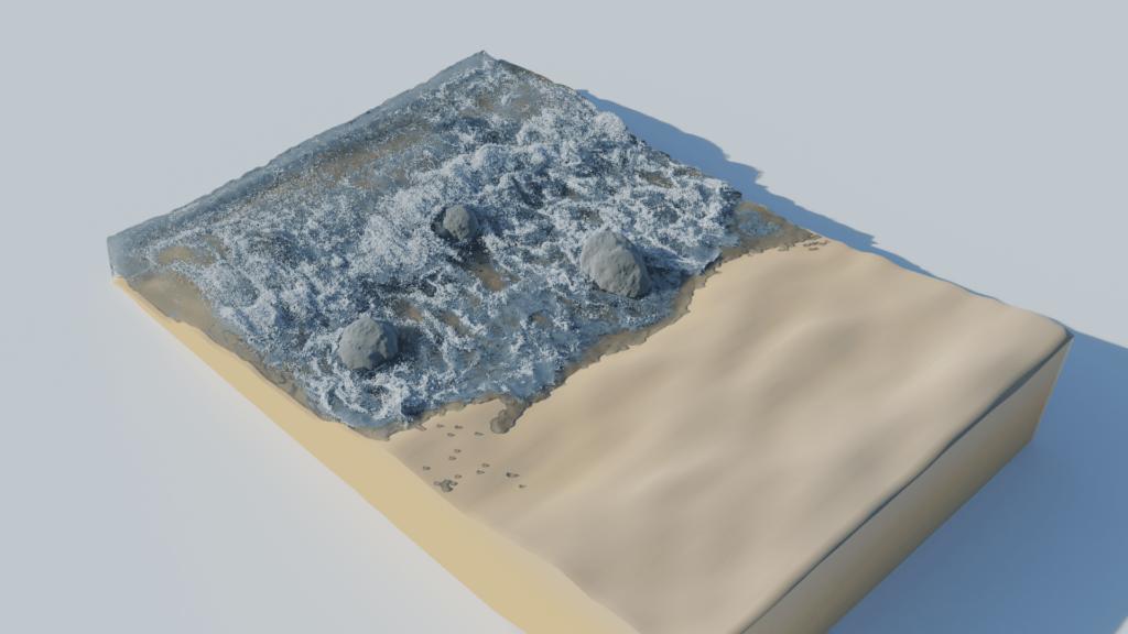 Blender 流体 物理シミュレーション エフェクター 3DCG 海 砂浜
